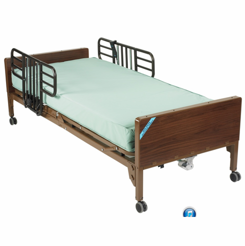 Full Electric Bed with Half Rails and Therapeutic Support Mattress