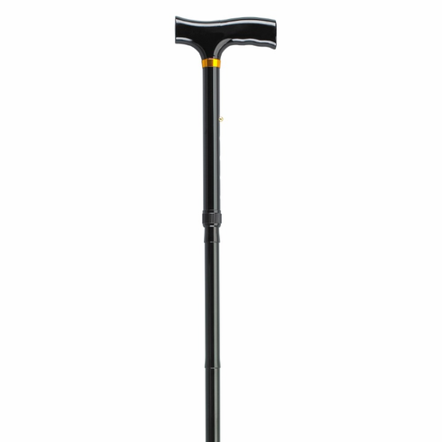Lightweight Adjustable Black Folding Cane with T Handle