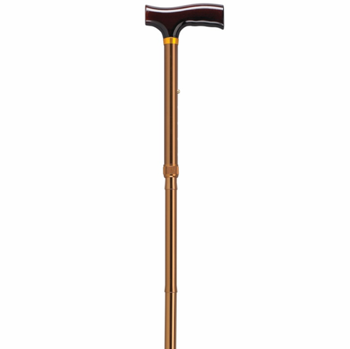 Lightweight Adjustable Bronze Folding Cane with T Handle
