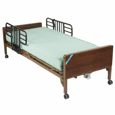Multi Height Manual Hospital Bed with Half Rails and Therapeutic Support Mattress