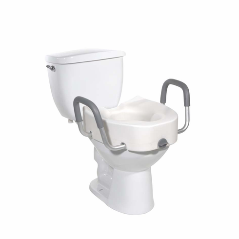 Premium Plastic Elevated Regular Elongated Toilet Seat w/Lock