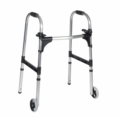 """Push Palm Release Folding Walker with 5"""" Wheels (Adult)"""