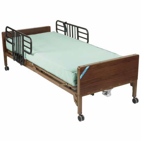 Semi Electric Bed with Half Rails and Therapeutic Support Mattress