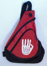 Handprint on Red Sling Pack