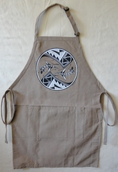 Mimbres Lizard on a Long Khaki Apron