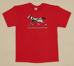Running Pony on Red Adult T Shirt