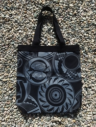 Tewa Tees Mimbres Wrap Cotton Tote - Black with Grey Ink