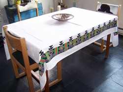 Tewa Tees Continuous White Table Cloth