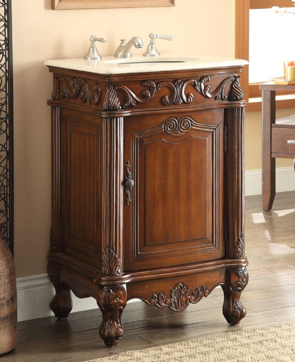 21 inch bathroom vanity traditional style medium brown color 21wx21dx34h ccf2801mtk for Traditional style bathroom vanities