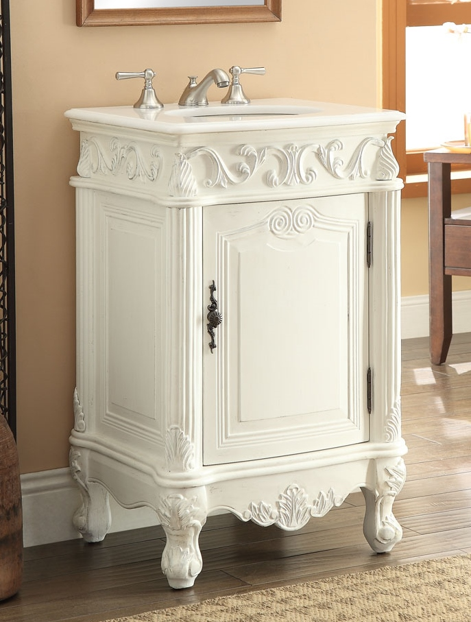 "21"" inch bathroom vanity classic traditional style antique white"