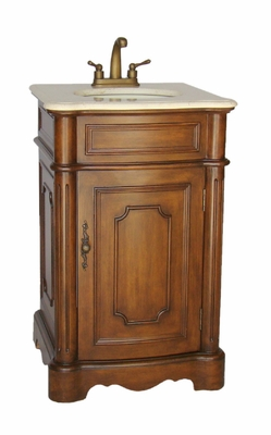"""21 inch Traditional Small Size Bathroom Sink Vanity Medium Brown Color (21""""Wx19""""Dx33""""H) CCF3006MTK"""