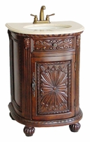 "24.5 inch Bathroom Vanity Tuscan Style Medium Brown Color (24.5""Wx21.5""Dx34""H) CQ083M"