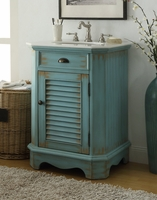 "24 inch Bathroom Vanity Louvered Shutter Door Style Distressed Blue Color (24""Wx21""Dx35""H) CCF47523BU"