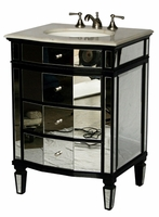 "26 inch Bathroom Vanity Mirrored Art Deco Design With Black Trim (26""W x21""Dx36""H) S2273BC"