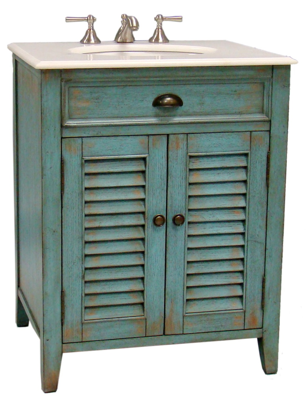 26 Inch Bathroom Vanity Cottage Beach Style Distressed Blue Color Wx21 5 Dx34 H Ccf28883bu
