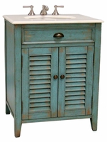 "26 inch Bathroom Vanity Cottage Beach Style Distressed Blue Color (26""Wx21.75""Dx34""H) CCF28883BU"