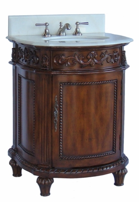 "26"" inch Bathroom Vanity Classic Powder Room Medium Brown Color  (26""Wx22""Dx34""H) CCF4407W"