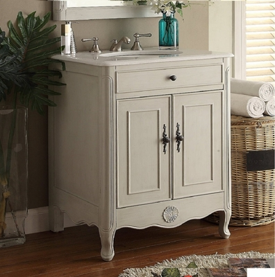 "26 inch Bathroom Vanity Cottage Beach House Distressed Vintage Grey Color (26""Wx21""Dx35""H) CCF838CK"