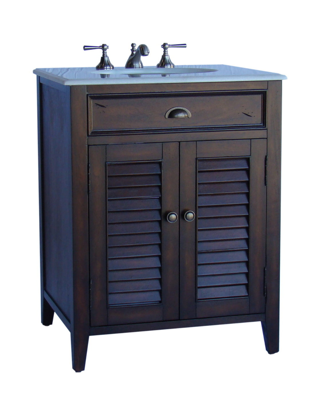 . 26 inch Bathroom Vanity Cottage Beach Style Distressed Brown Finish