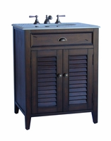"26 inch Bathroom Vanity Cottage Beach Style Distressed Brown Finish (26""Wx21.5""Dx34""H) CH28367BN"