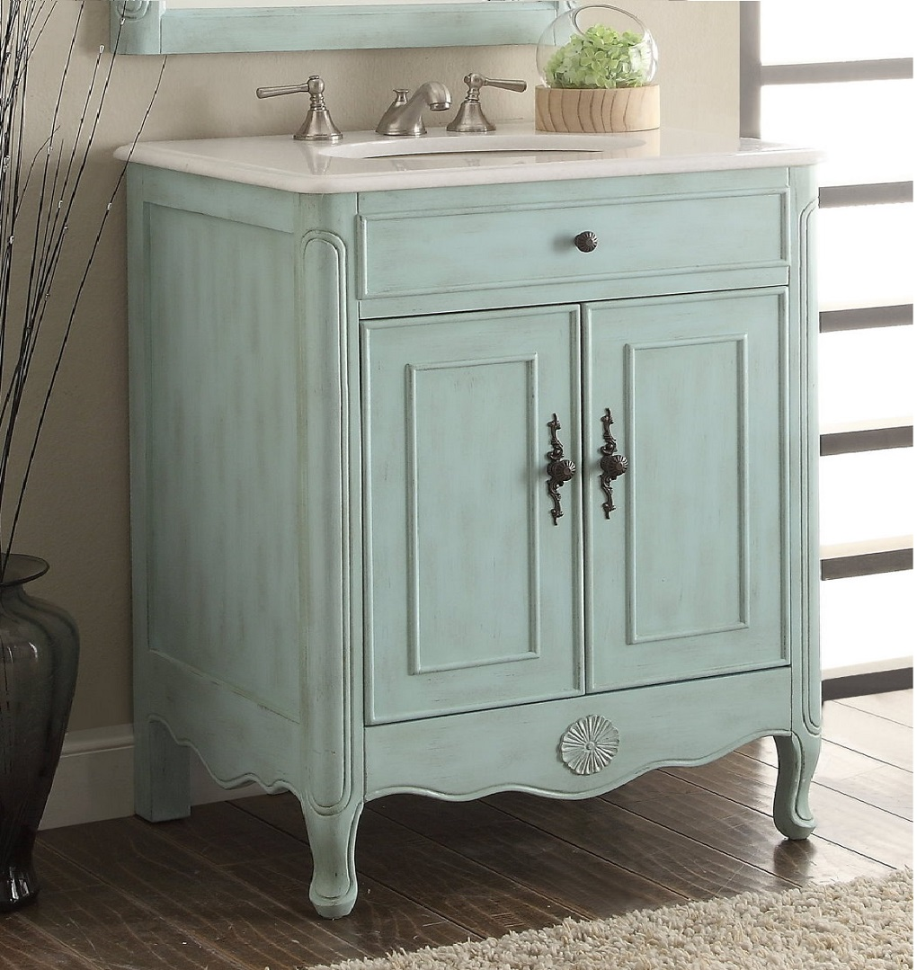26 Inch Bathroom Vanity Cottage Coastal Beach Style Vintage Blue Color Wx21 Dx35 H C838lb