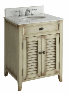 "26 inch Bathroom Vanity Cottage Beach Style Distressed Beige Color (26""Wx21.75""Dx34""H) CCF28323"