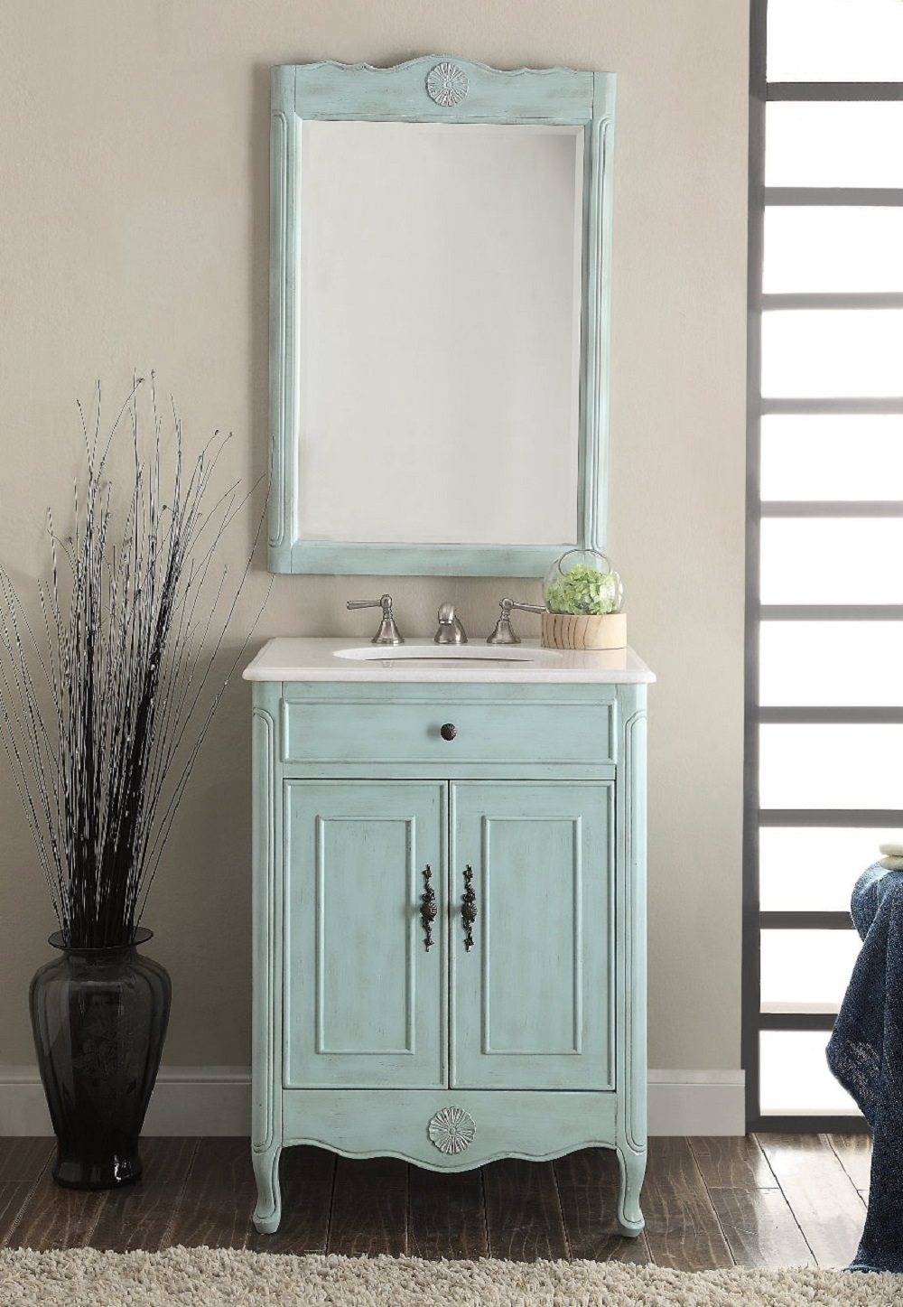 26 inch Blue Bathroom Vanity with Mirror Crystall White Marble Top ...