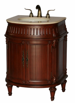 "26 inch Bathroom Vanity Traditional Round Front Style Cherry Color (26""Wx21""Dx34""H) S2191505BE"