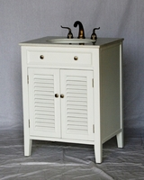 "26 inch Bathroom Vanity Cottage Coastal Beach Style White Color (26""Wx21""Dx35""H) S112826W"