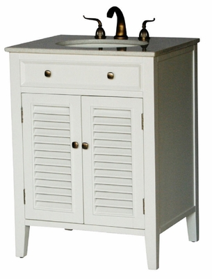 """26 inch Bathroom Vanity Louvered Shutter Doors Style White Color (26""""Wx21""""Dx35""""H) S112826W"""