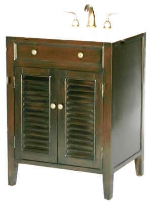 "26 inch Bathroom Vanity Louvered Shutter Doors Style Espresso Color (26""Wx21""Dx35""H) S112826"