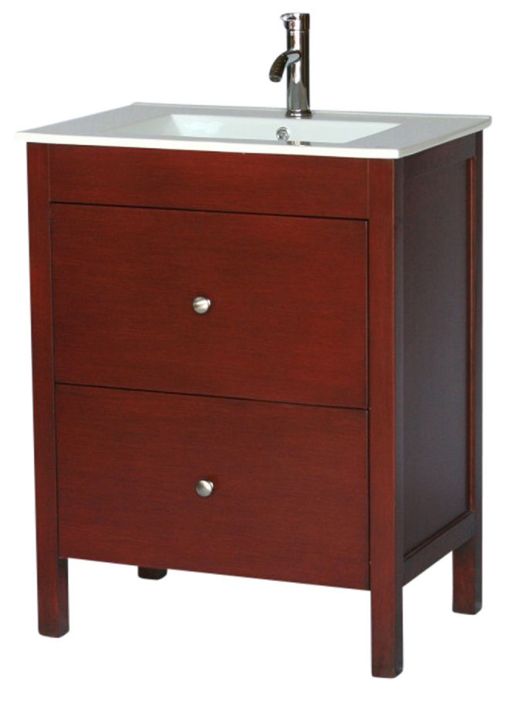28 Inch 18 Deep Bathroom Vanity Modern Style Cherry Color Wx18 Dx36 H S3022f