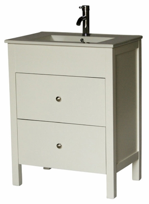 "28 inch 18 inch Deep Bathroom Vanity Modern Style White Color (28""Wx18""Dx36""H) S3022W"