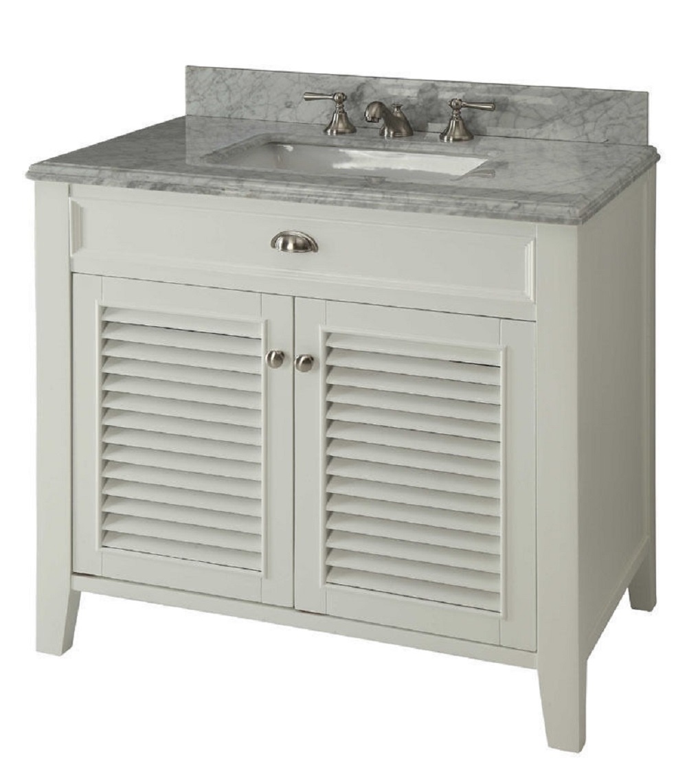 Inch Bathroom Vanity Louvered Shutter Doors Style White Color - Louvered door bathroom vanity