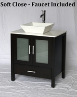"30 inch Espresso Bathroom Vanity White Square Porcelain Vessel Style (30""Wx20.5""Dx36""H) S2419ESS"