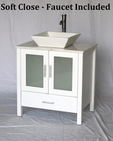 "30 inch White Bathroom Vanity White Square Porcelain Vessel Style (30""Wx20.5""Dx36""H) S2419WS"