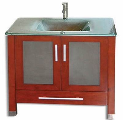 "30 inch Bathroom Vanity Glass Top Modern Style Chestnut Color (30""Wx21""Dx34""H) AMARA 30C"