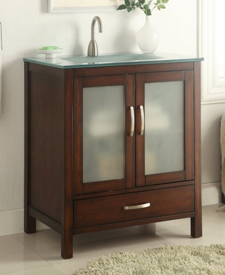 "30 inch Bathroom Vanity Glass Top Modern Style Medium Brown Color (30""Wx21""Dx35""H) CCF12387"