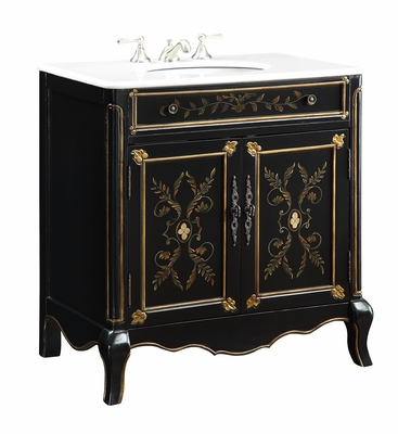 "32 inch Bathroom Vanity Hand Painted Black Gold Color (32.5""Wx20.25""Dx34.5""H) CHF2326"