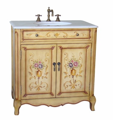 "32 inch Bathroom Vanity Hand Painted Floral Design Beige Color (32.5""Wx20""Dx34.5""H) CHF2263W"