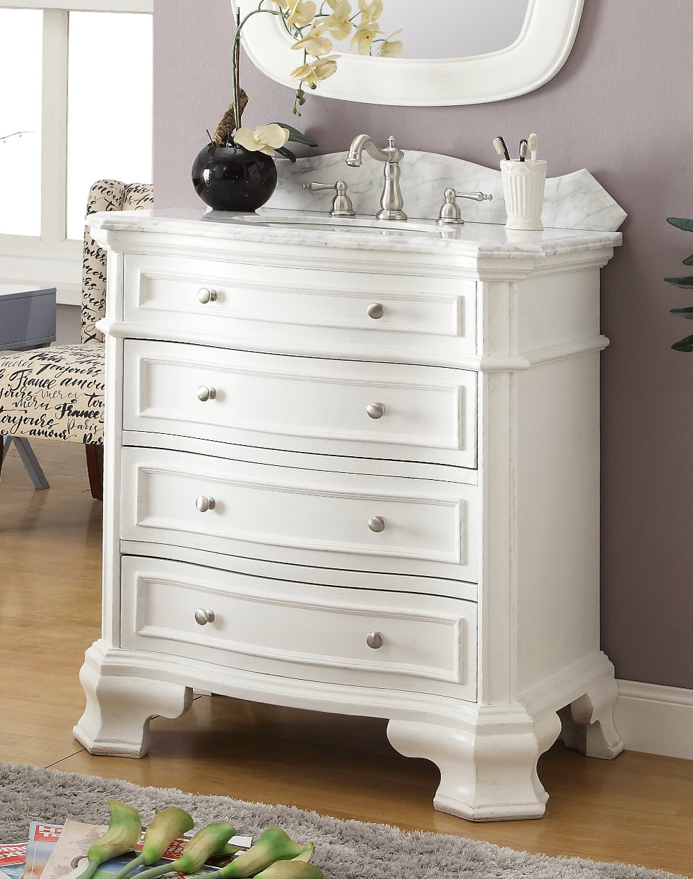 32 inch bathroom vanity 3 drawers costal cottage beach style white rh bathroomvanities4less com 32 inch bathroom vanity set 32 inch bathroom vanity without top
