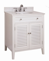 "32 inch Bathroom Vanity Beach Style White Color (32""Wx21""Dx35""H) CN112832W"