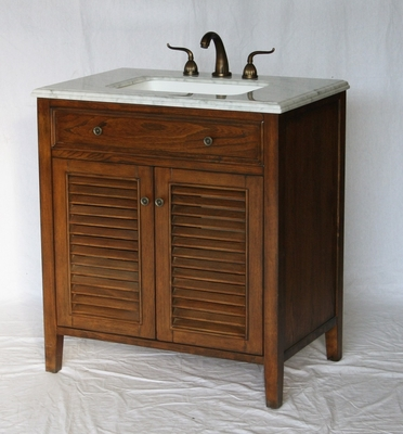 "32 inch Bathroom Vanity Coastal Cottage Beach Vintage Style Walnut Color (32""Wx21""Dx35""H) S332832S"