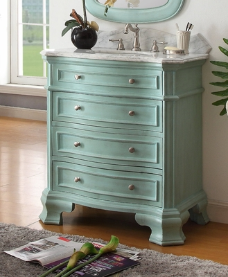 "32 inch Bathroom Vanity 3 Drawers Costal Cottage Beach Style Light Blue Color (32""Wx21""Dx36.5""H) CHF1033BU"