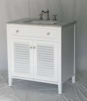 "32 inch Bathroom Vanity Pure White Coastal Cottage Beach Vintage Style (32""Wx21""Dx35""H) S332832W"