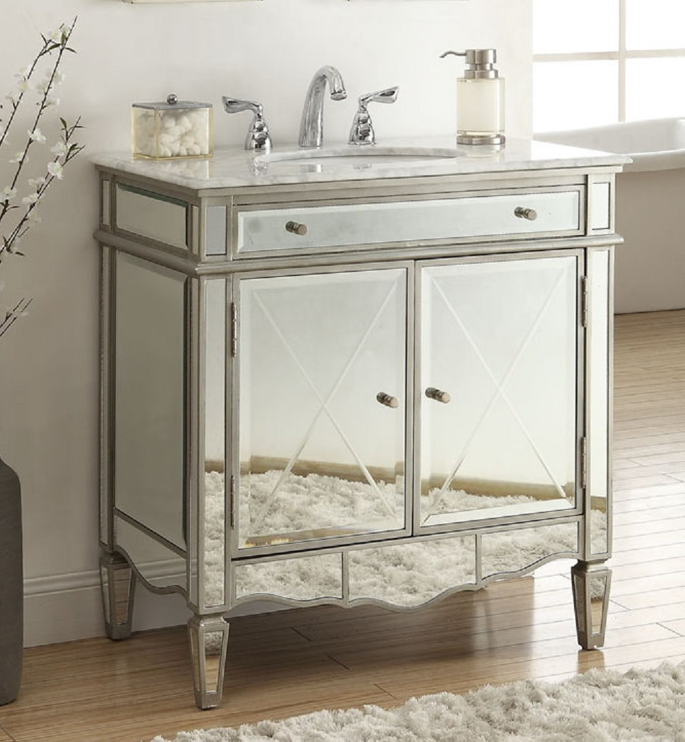 32 inch Bathroom Vanity Mirrored Art Deco Design With Silver Trim ...