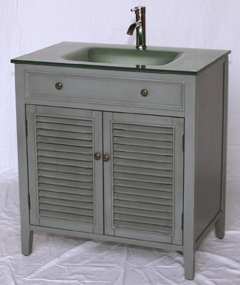 Inch Bathroom Vanity Louvered Shutter Doors Style Grey Color - Louvered door bathroom vanity