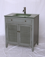 32 inch Bathroom Vanity Gray Cottage Beach Style Grey Color  Wx21 Dx35 Vanities Coastal House