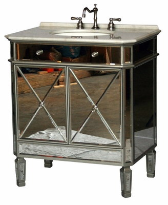 """32 inch Bathroom Vanity Mirrored Art Deco Design With Silver Trim (32""""Wx21""""Dx36""""H) SS5105SC"""