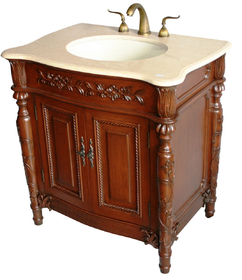 32 Inch Bathroom Vanity Traditional Style Medium Brown Wx22 Dx34 H S2205505be
